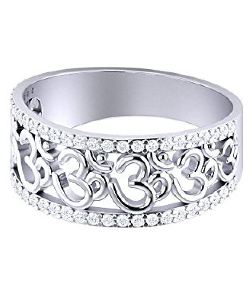 Voylla Sterling Sterling Silver OM Ring with Zircons