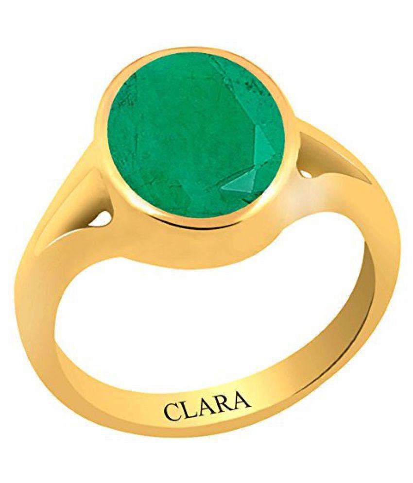 Clara Certified Emerald Panna 3.9 carat or 4.25ratti Panchdhatu Gold Polish Astrology Ring For Men & Women