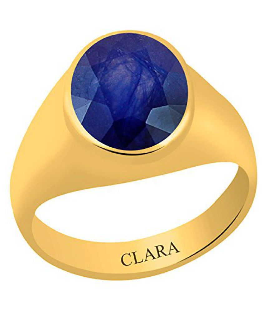 ClaraCertified Blue Sapphire Neelam 4.8 carat or 5.25ratti Panchdhatu Gold Plating Astrological Ring For Men & Women