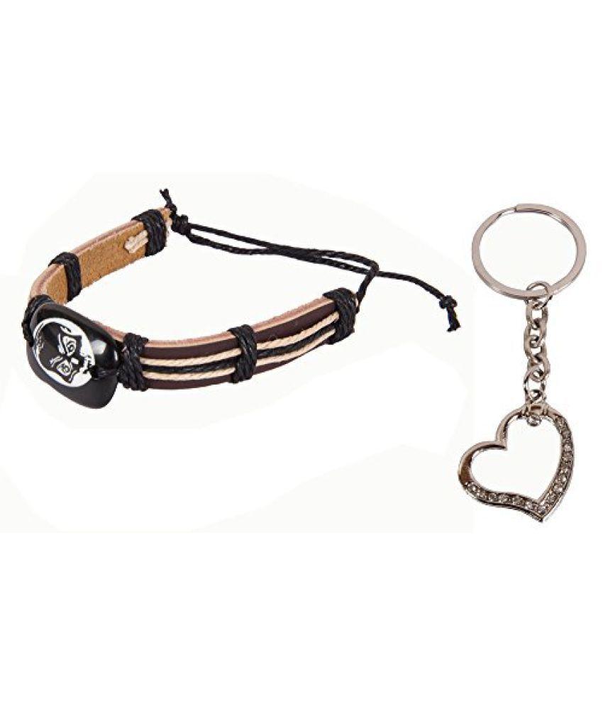 Sushito Black Leather Wrist Band Combo Heart Key Chain