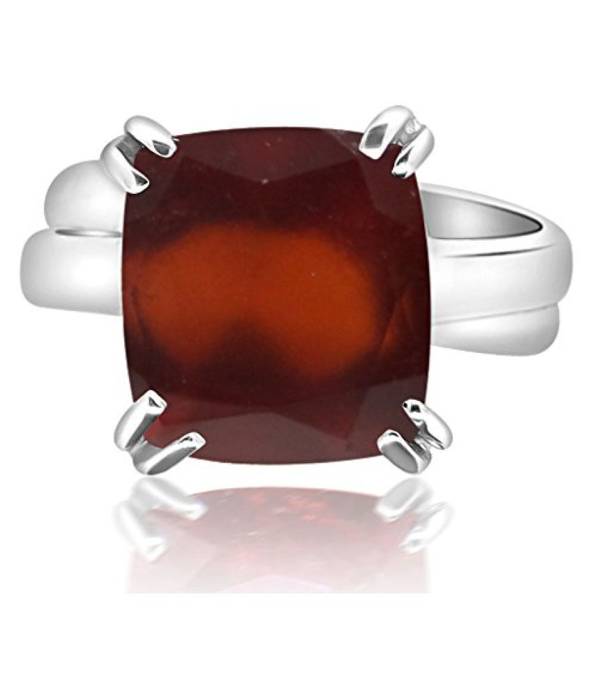 HESSONITE RING 11.25 - 11.50 Ratti NATURAL & GJSPC CERTIFIED HESSONITE GARNET (Gomed) ASTROLOGICAL GEMSTONE Adjustable SILVER RING By ARIHANT GEMS AND JEWELS