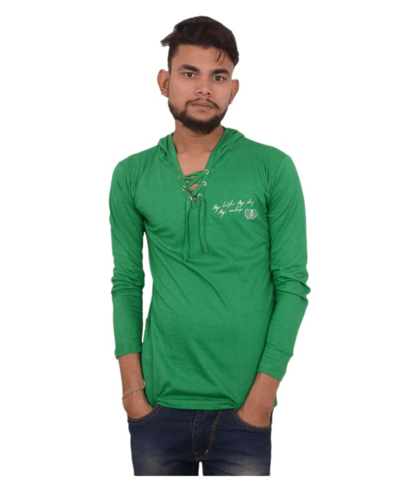 Hero & Piyush Green Hooded T-Shirt