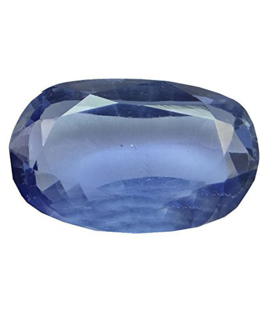 SAPPHIRE 6.78 ct. / 7.53 Ratti PURE & IIGS CERTIFIED SYNTHETIC SAPPHIRE ASTROLOGICAL GEMSTONE BY ARIHANT GEMS AND JEWELS