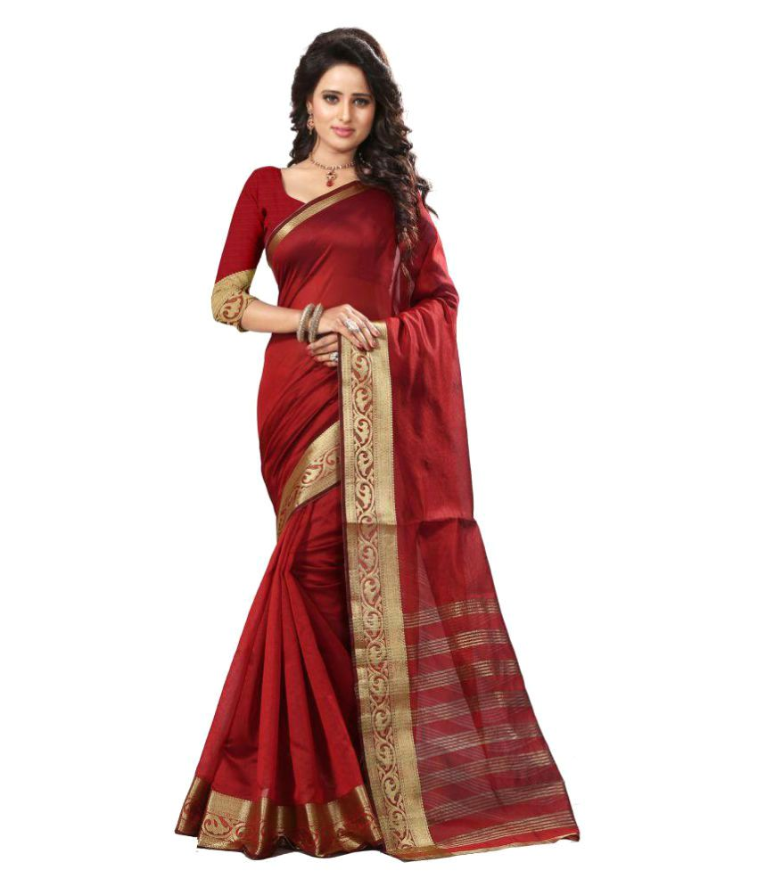 Zelly Creation Red Art Silk Saree