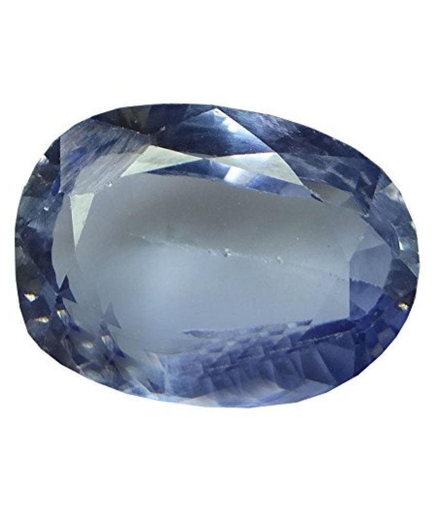 SAPPHIRE 7.11 ct. / 7.9 Ratti PURE & IIGS CERTIFIED SYNTHETIC SAPPHIRE ASTROLOGICAL GEMSTONE BY ARIHANT GEMS AND JEWELS