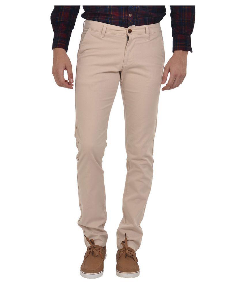 Klub Fox Beige Regular Flat Trousers