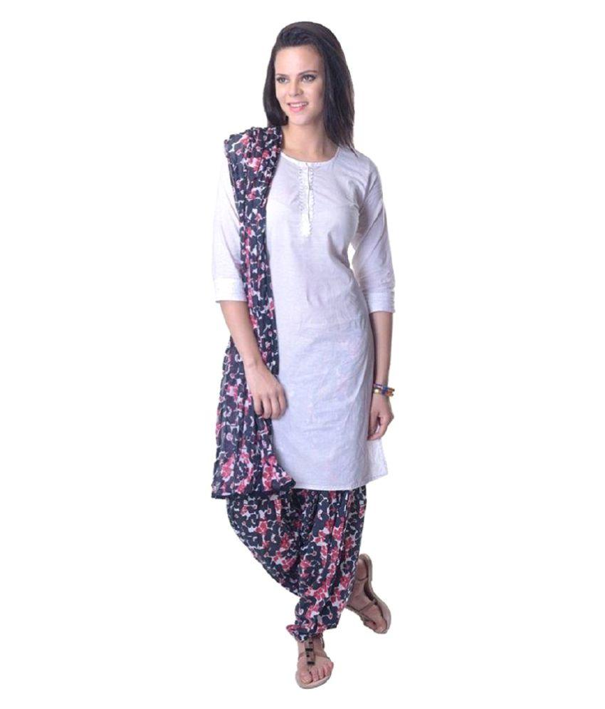 Vastra Vinod White Cotton Straight Stitched Suit