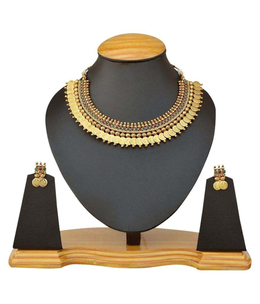KAD Creations Golden Designer Partywear Traditional American Diamond Stone Necklace Set