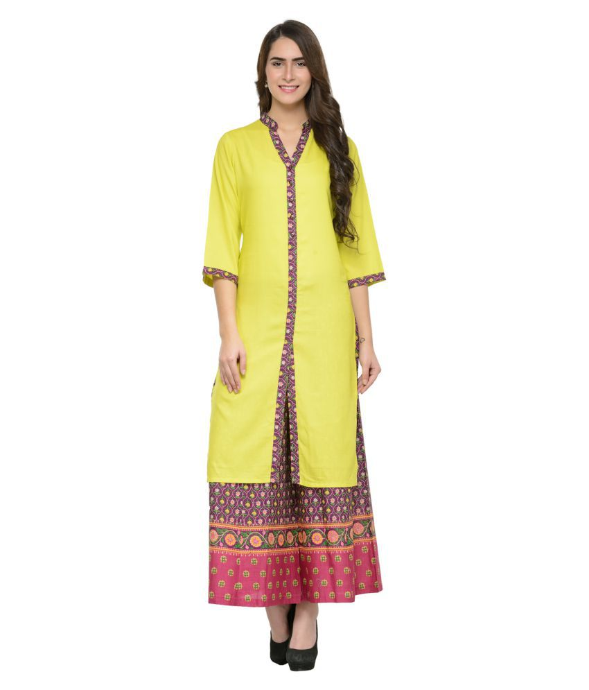 Ayaany Yellow Cotton Straight Stitched Suit