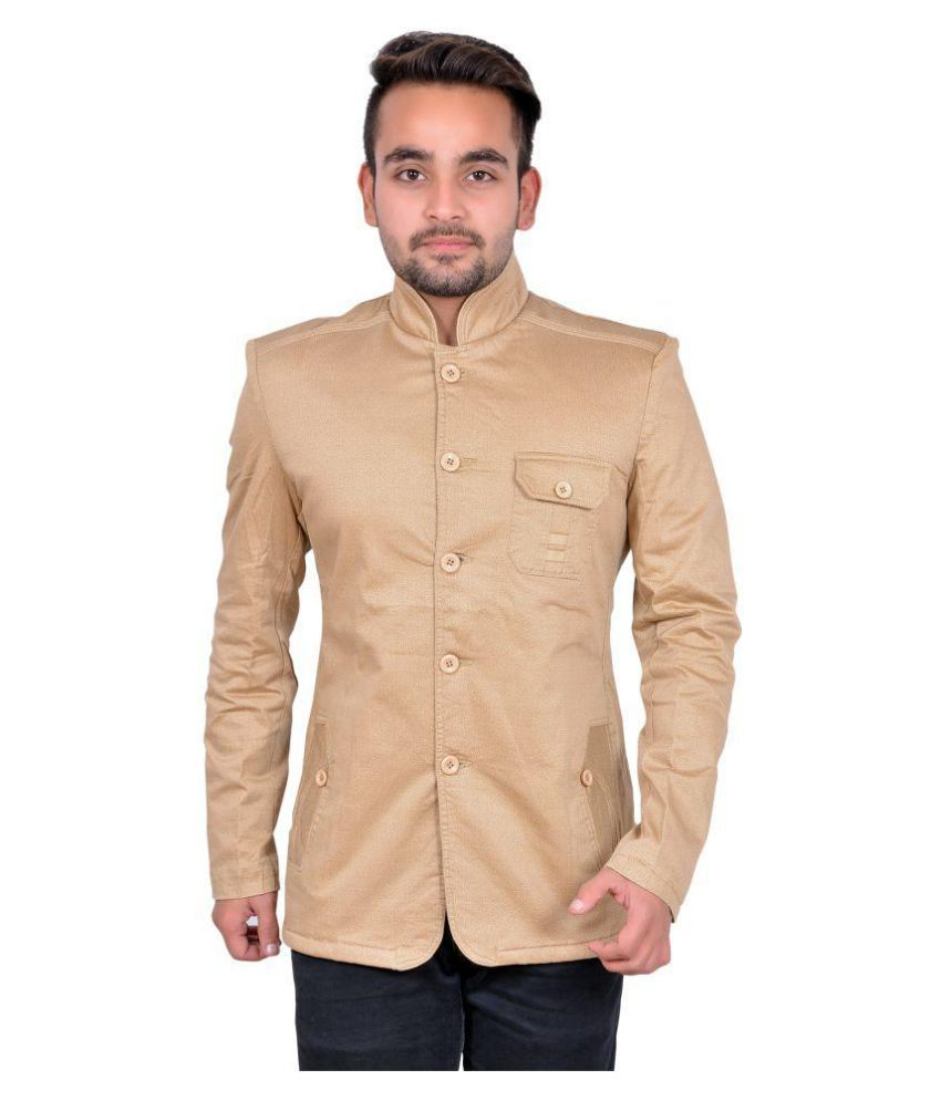 GDS Beige Solid Casual Blazers