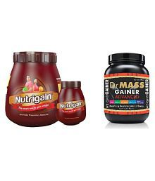 Ayurwin NUTRIGAIN POWDER+CAP + DR WELL WEIGHT GAINER 500 Gm Chocolate Weight Gainer Powder Pack Of 3