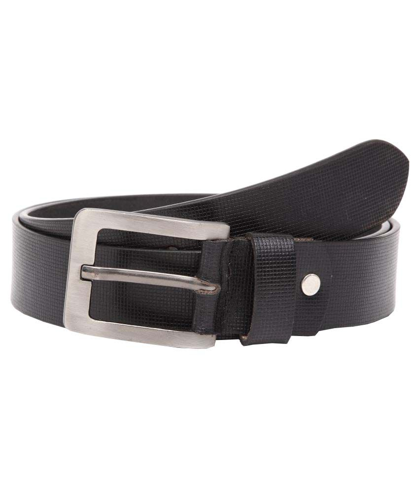 U+N Black Leather Casual Belts