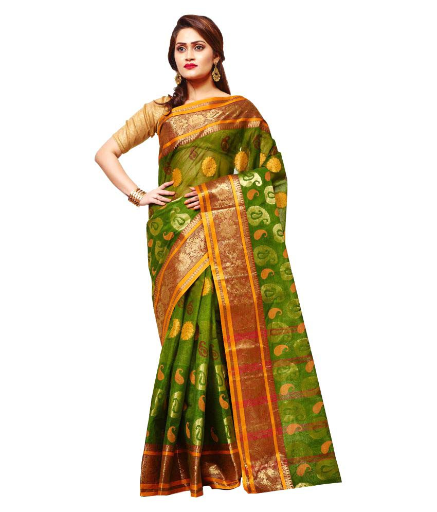 Loom&Crafts Green Cotton Saree