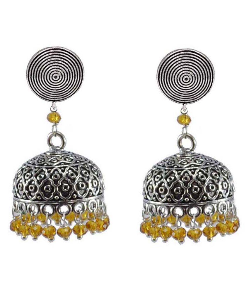 Silvesto India Religious Round Jhumki With Citrine Crystals-Antique Silver Polished Jhumka-Punjabi Wedding Jewellery PG-32869
