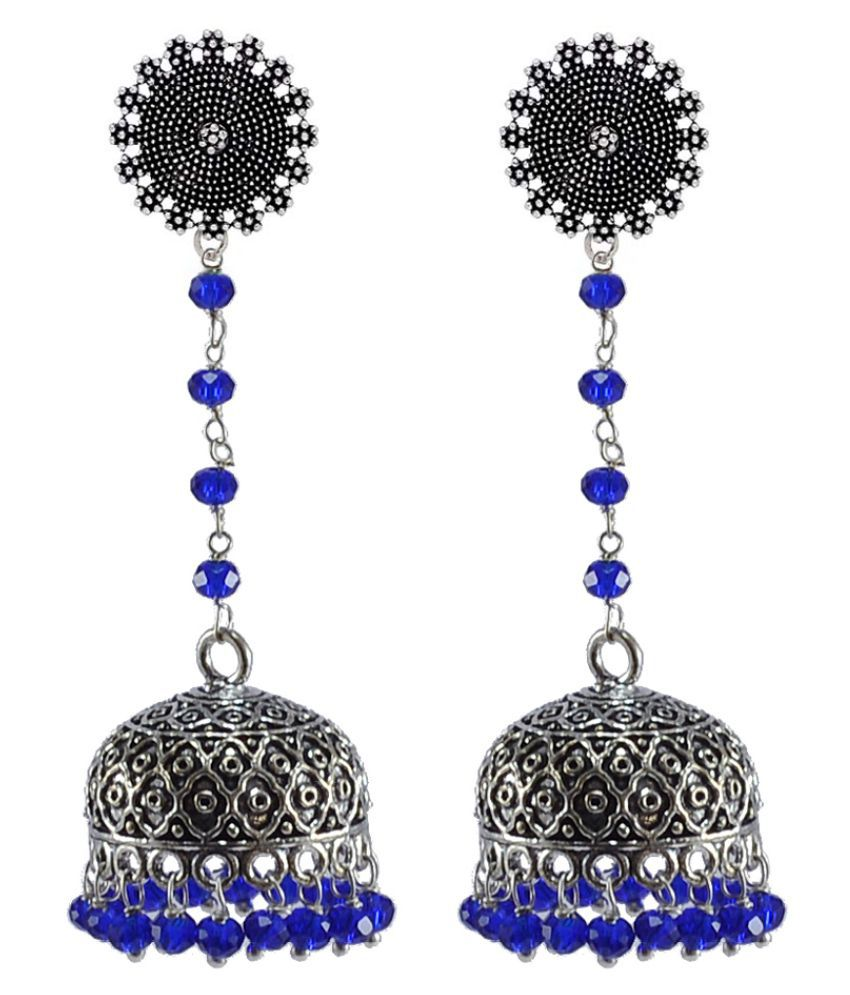 Silvesto India Floral Post Studs With Hanging Dome Shape Jhumki Earrings PG-32951