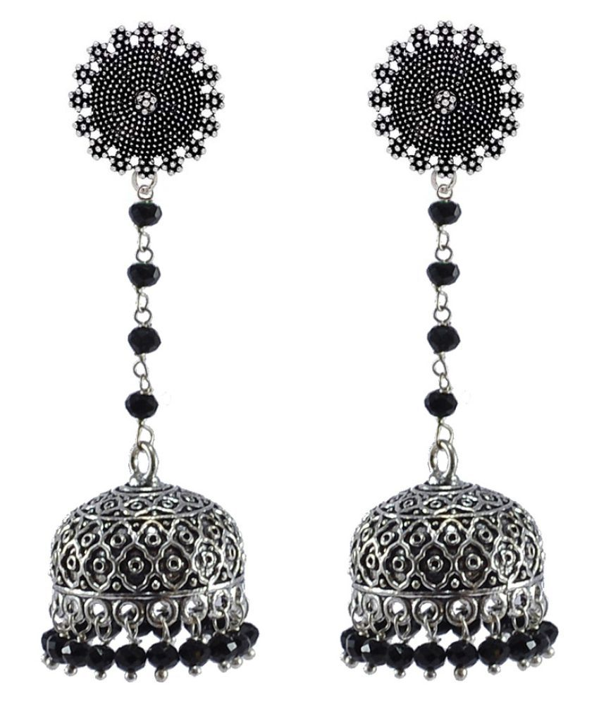 Silvesto India Black Crystal Beads with Floral Jhumki Earrings - PG-32926