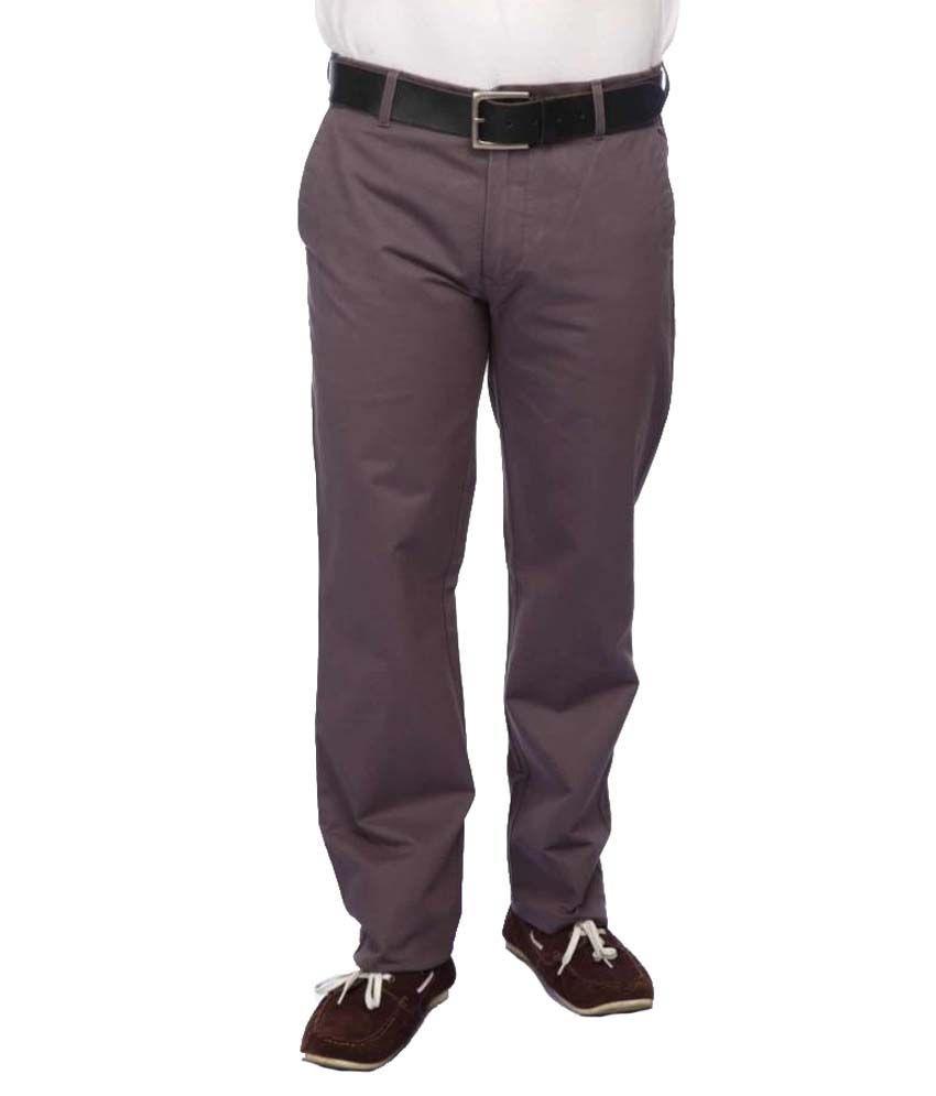 Colorplus Grey Regular Flat Trousers