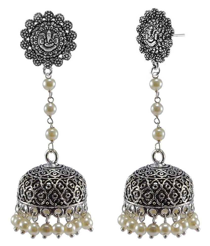 Silvesto India White Designer Jhumki Earrings