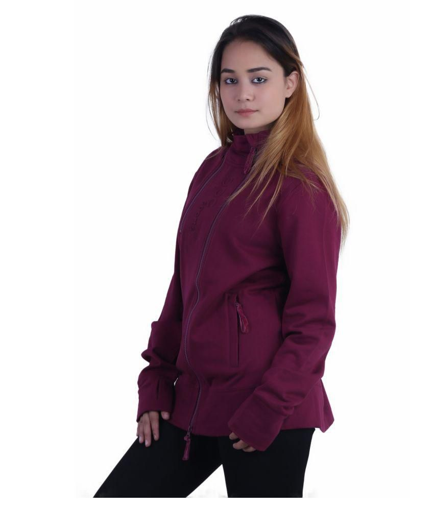 Kotty Maroon Cotton Women's Jacket