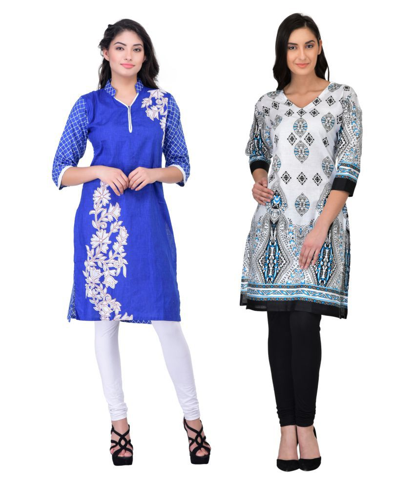 Drapes Multicoloured Cotton Straight Kurti