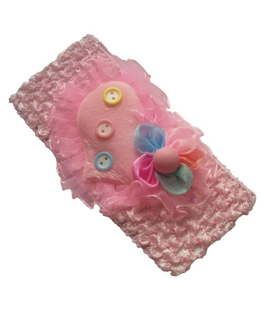 Viva Fashions Pink Heart Rosset Flower on Crochet Head Band