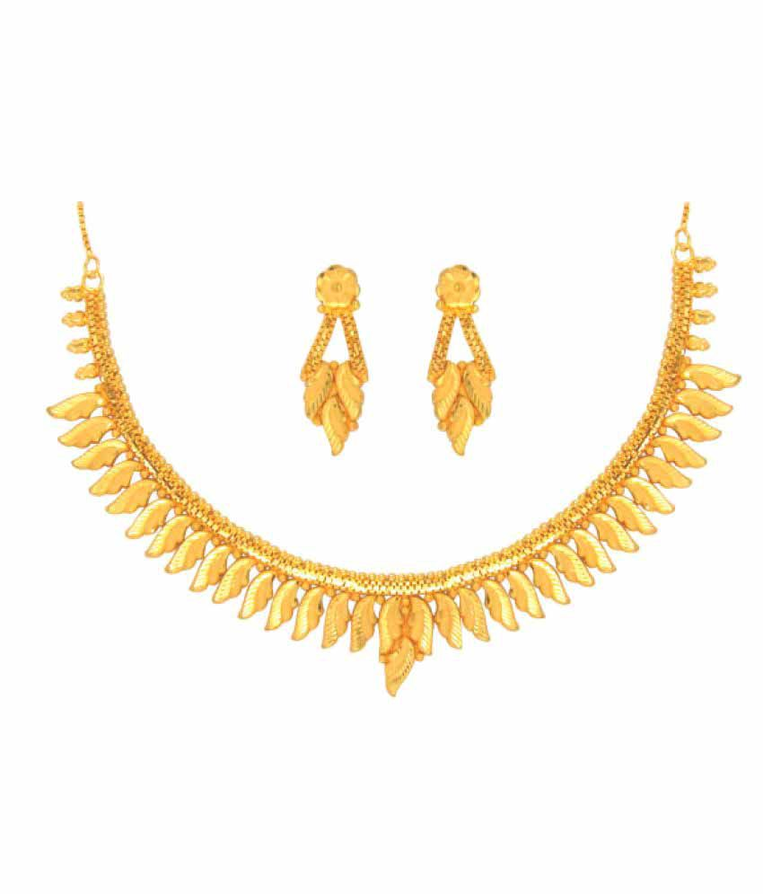 Anjali Jewellers Golden Necklace Set