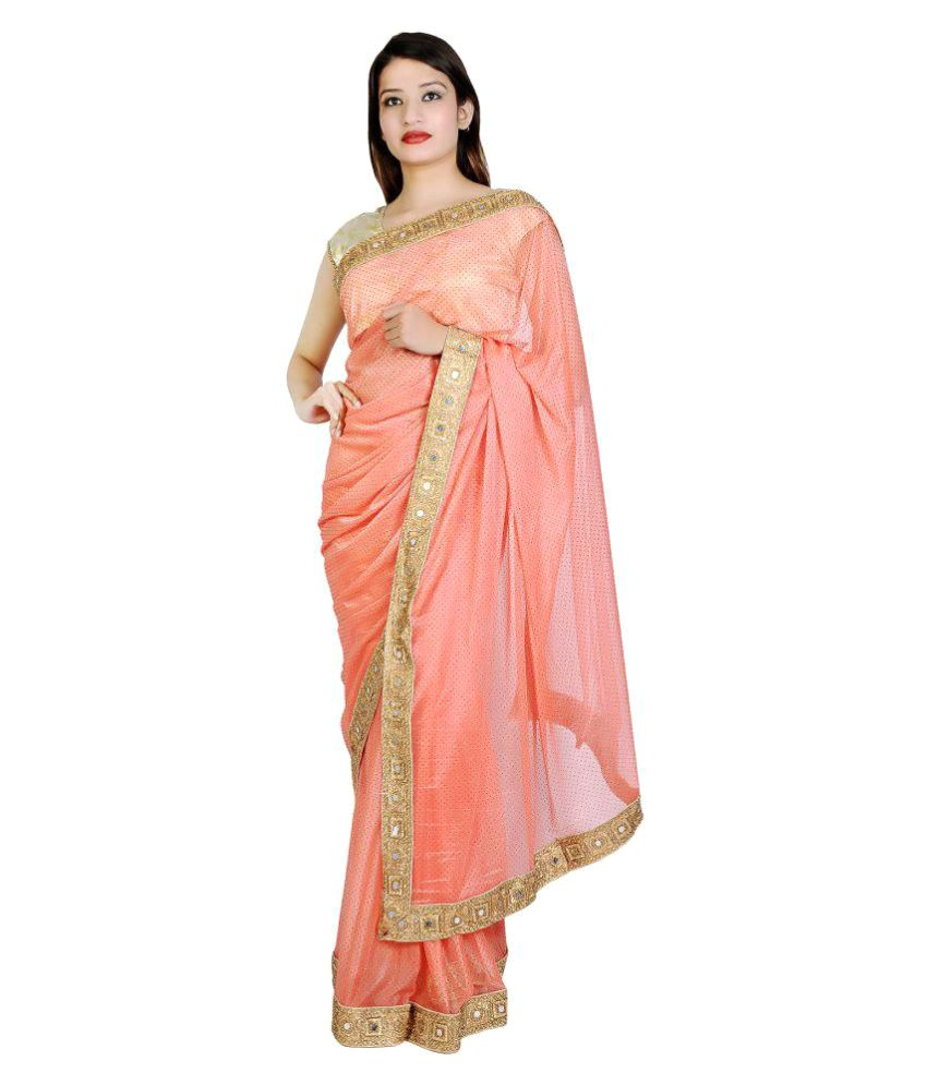 Fame4you Orange Georgette Saree