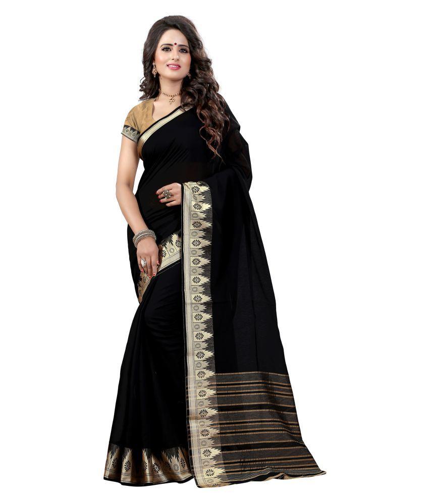 Manaki Enterprise Black Cotton Silk Saree