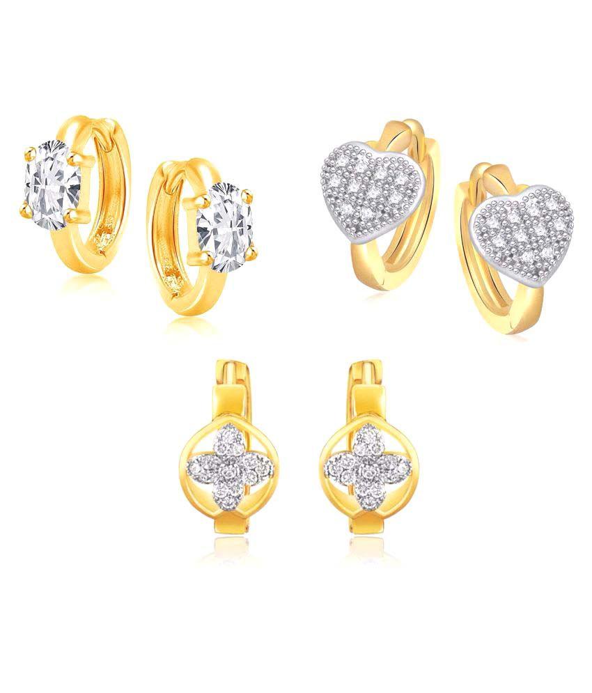Efulgenz Combo of Designer CZ  Earrings