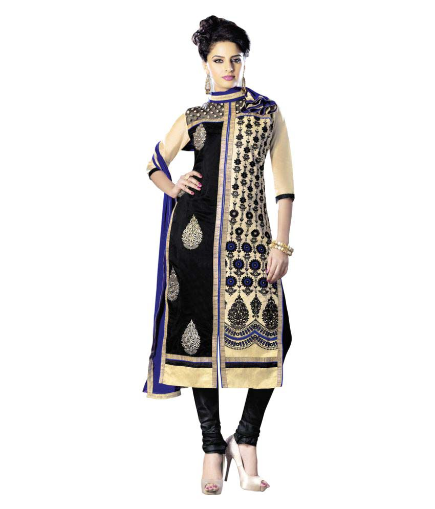 Snapshopee Multicoloured Chanderi Dress Material