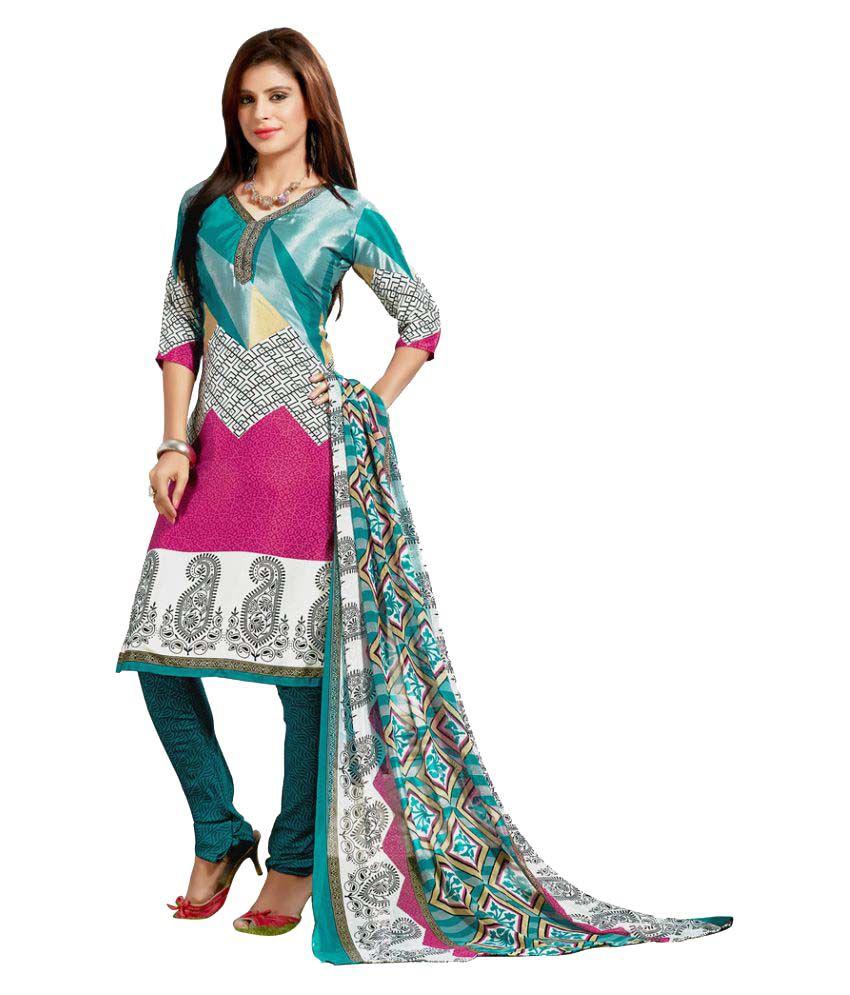 Snapshopee Multicoloured Silk Dress Material