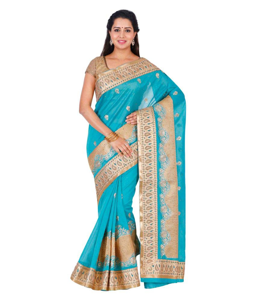 The Chennai Silks Blue Raw Silk Saree - Buy The Chennai Silks Blue ...