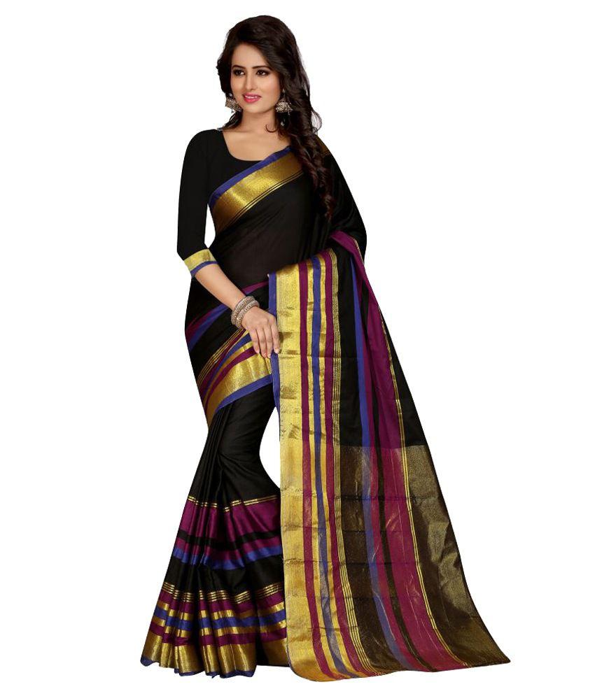Pioneer Textiles Black Cotton Saree