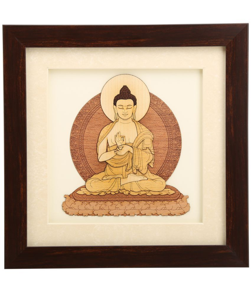 Shivika Enterprises Natural Wood 2D & 3D  View Lord  Buddha Painting (25x25x2 Cm, Brown)