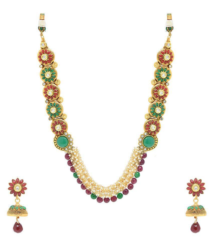 Jewellerkaka Floral Design Pearl Studded Medium Necklace Set