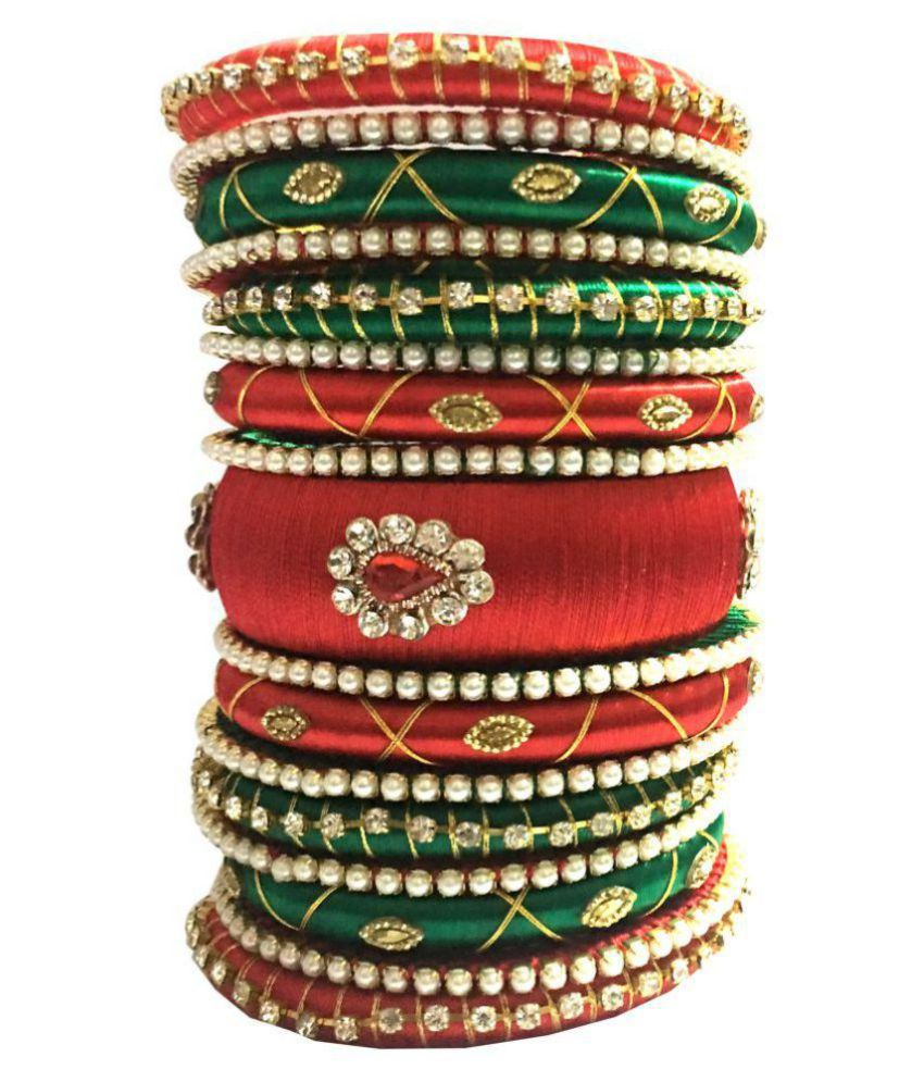 Kuhuk Multi Color Silk Thread Plastic Bangle Set