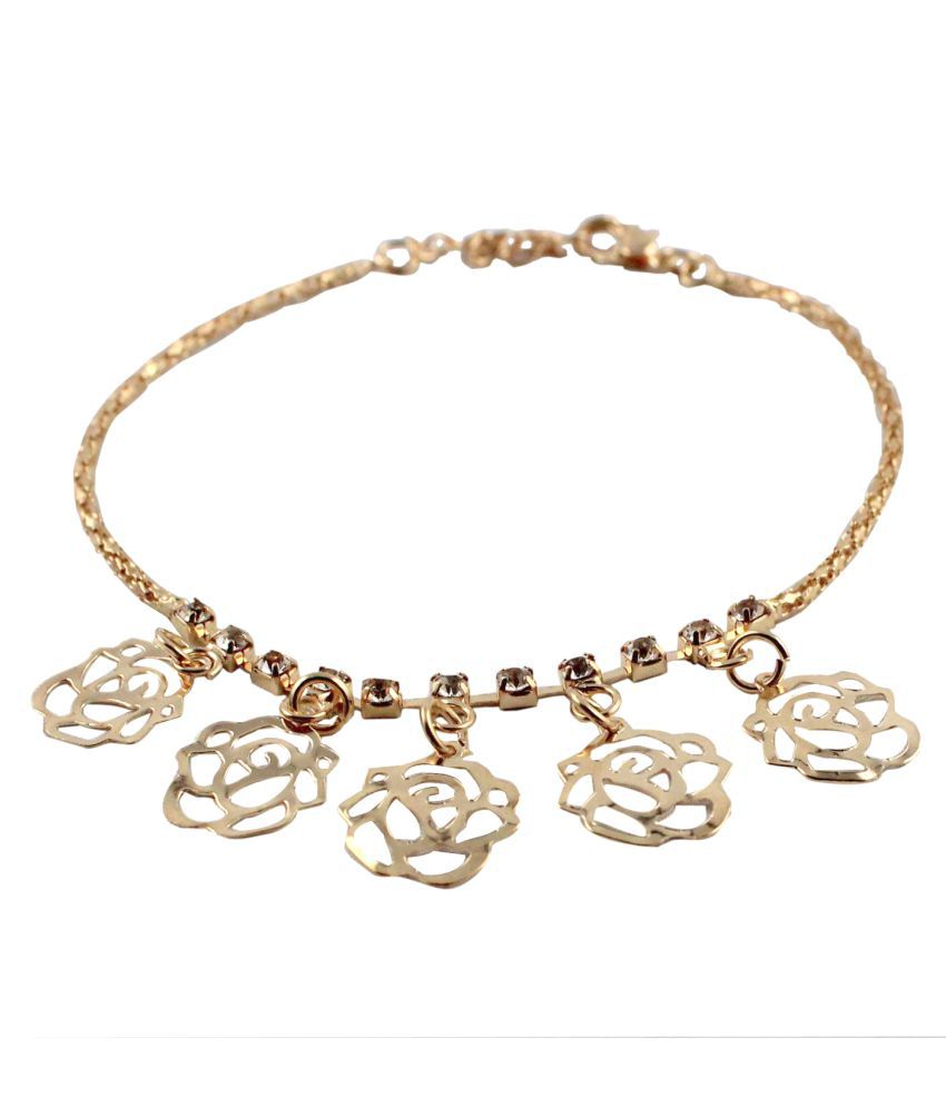 Wise Pebbles Golden Stone Anklet for Women
