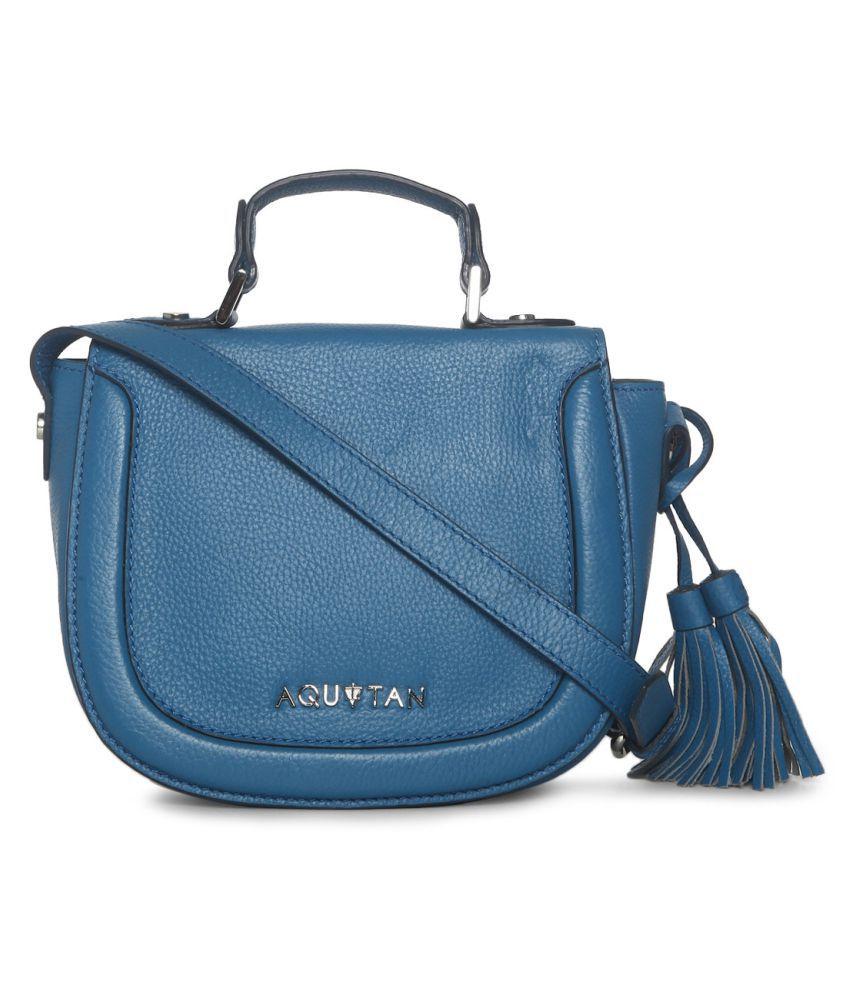 AQUATAN Blue Pure Leather Sling Bag