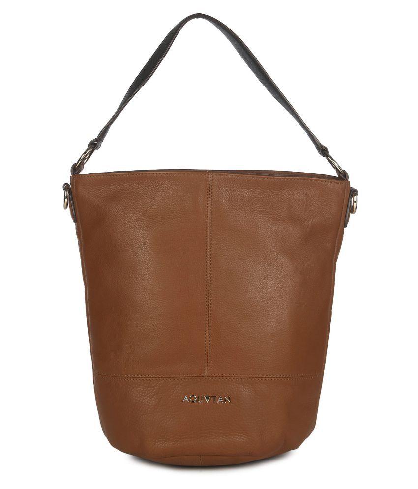 Aquatan Brown Pure Leather Hobo Bag