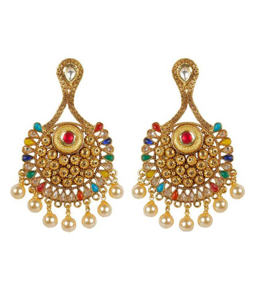 Much More Beautiful Multi Color Dangle Look Chandeliers Earrings For Women