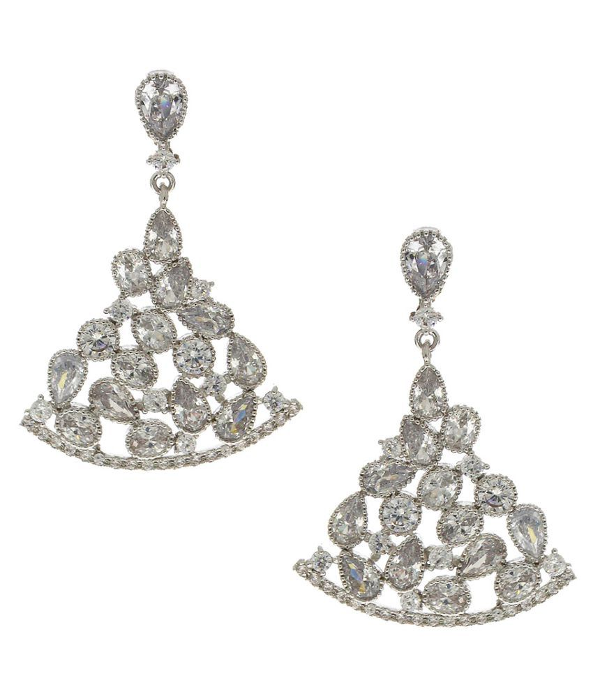 Anuradha Art Silver Finish Classy Studded White Colour Stone Party Wear Fancy American Diamonds Hanging Earrings for Women