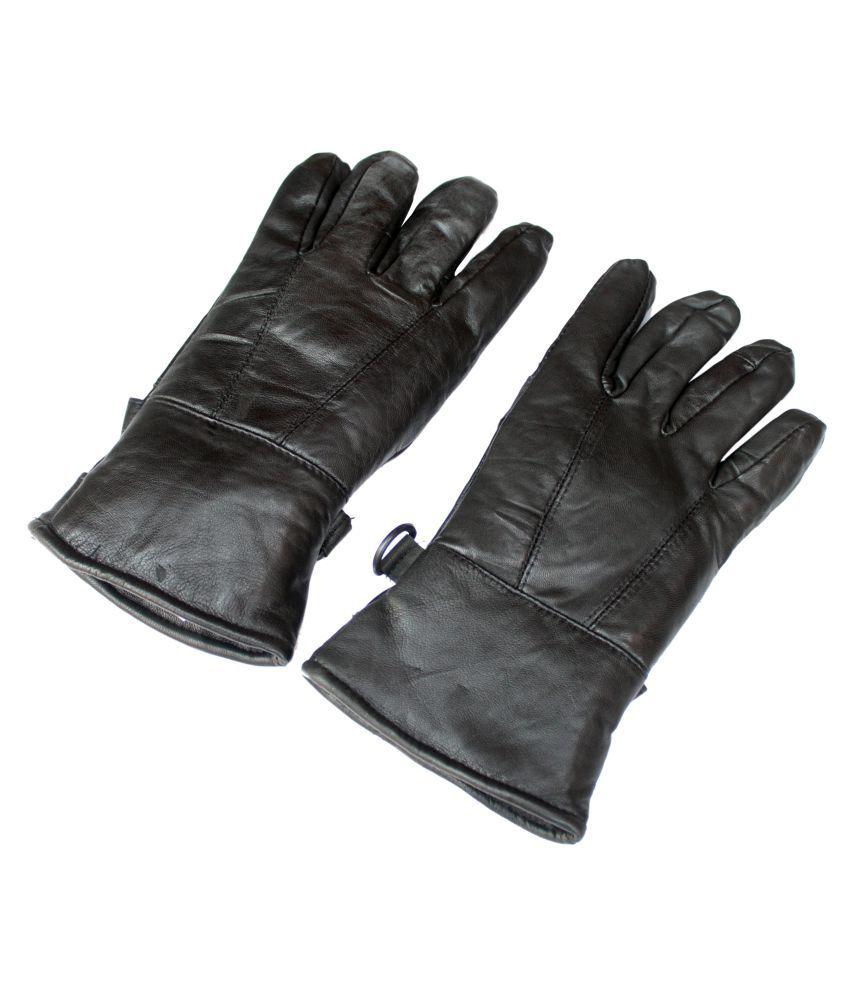Mens leather gloves online india - Unifashionat Black Winter Leather Gloves For Men