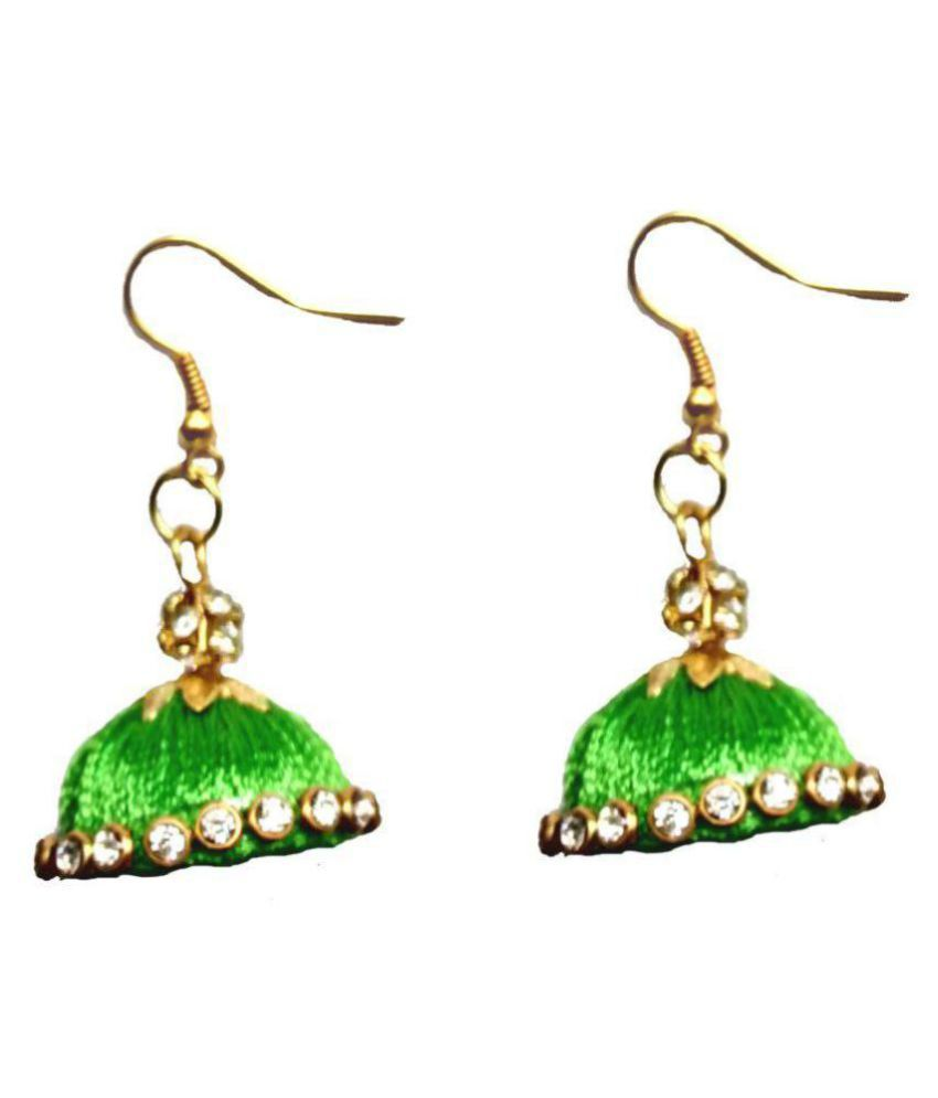 Shrungarika Fashionable Silk Thread Jhumki Earrings for Women