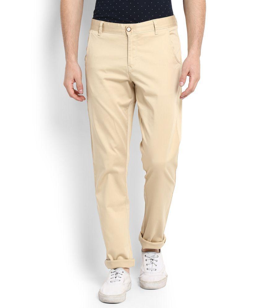 Allen Solly Beige Regular Flat Trousers