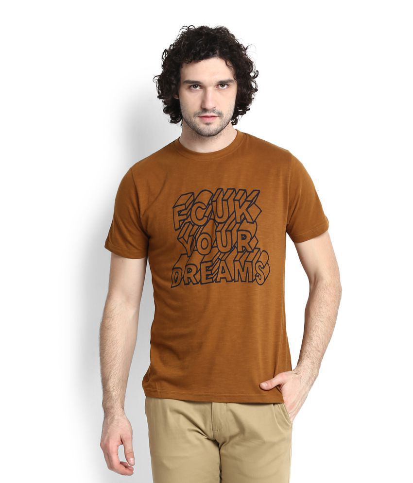 FCUK Brown Round T-Shirt