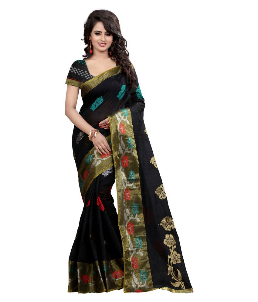 Bluebird Impex Black Cotton Saree