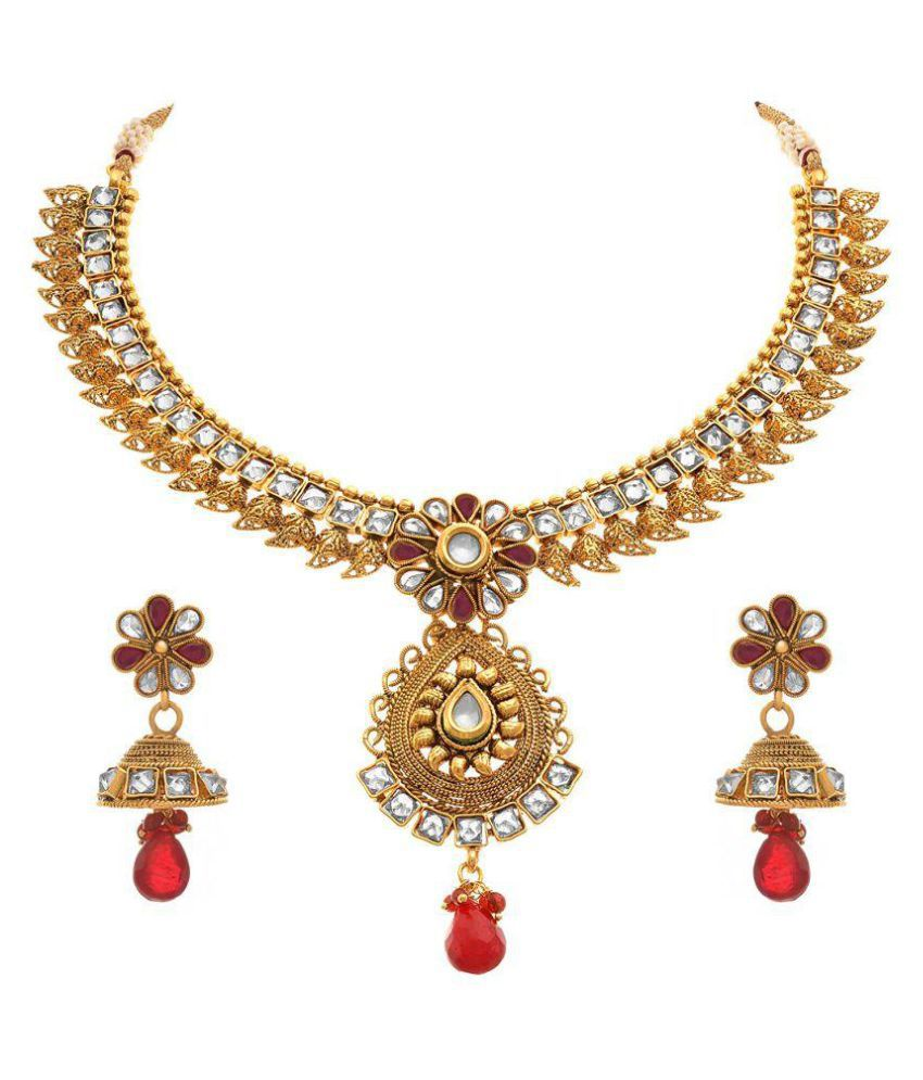 JFL - Jewellery For Less Ethnic One Gram Gold Plated Kundan Polki Designer Necklace Set for Women