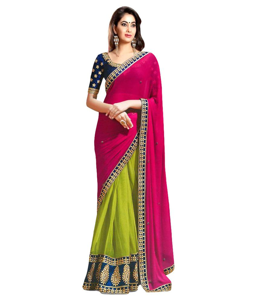 Online Bazaar Multicoloured Georgette Saree