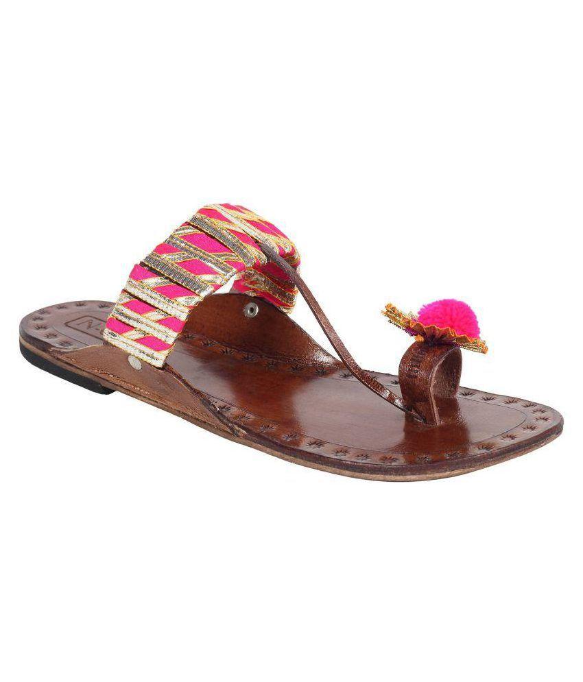 N-Gal Pink Flat Ethnic Footwear