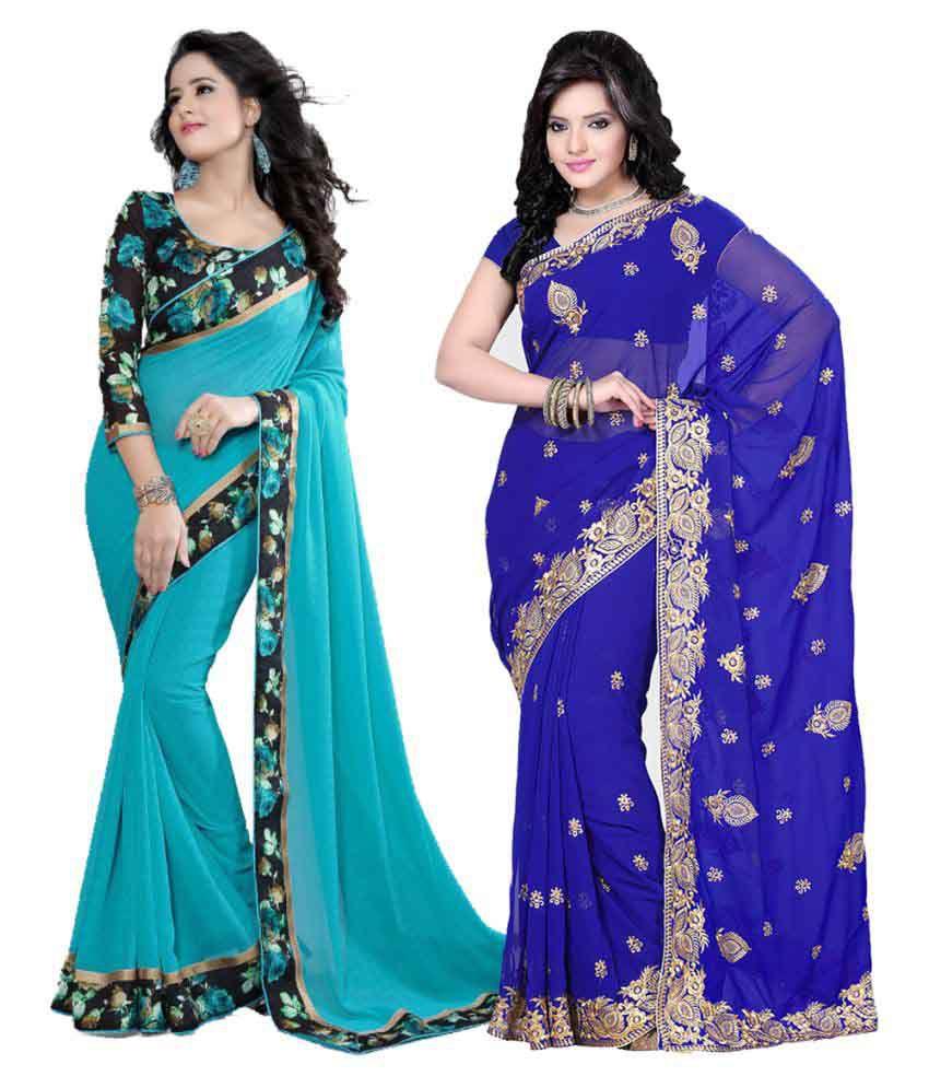 Online Bazaar Multicoloured Rayon Saree Combos